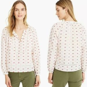 J. Crew Popover Blouse in Metallic Clip Dot